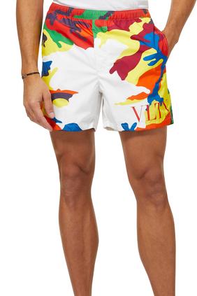 Camouflage Logo Print Swim Shorts