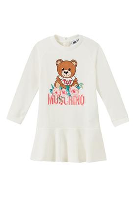 Teddy Bear with Floral Print Dress
