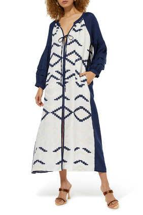Abstract Print Tie-Up Midi Dress