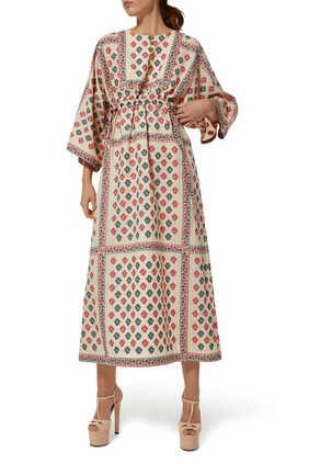 GG Flower Fil Coupé Long Kaftan Dress