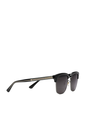 Rectangular-frame Metal Sunglasses