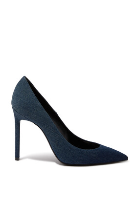 Denim Point Toe Pumps