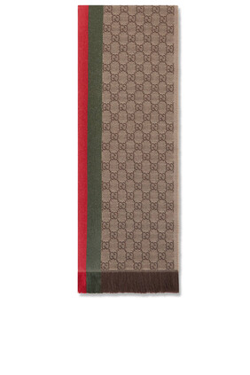 GG Jacquard Knitted Scarf With Web