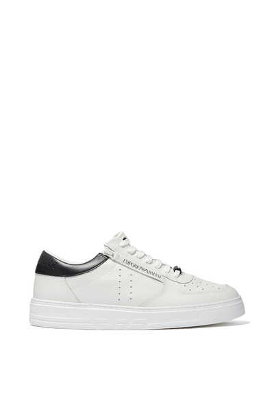 Perforated Detail Leather Sneakers