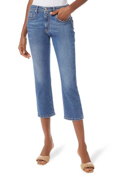 Crystal-Embellished Cropped Denim Jeans