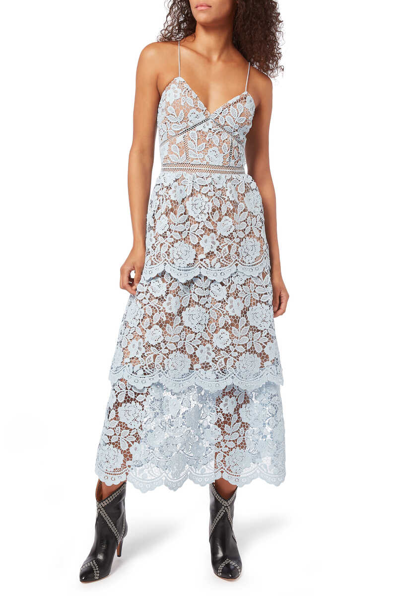 Flower Lace Midi-Tiered Dress image number 1