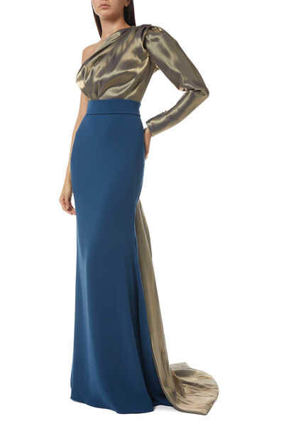 One-Shoulder Two-Tone Gown