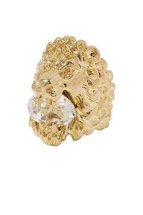 Crystal Lion Head Ring