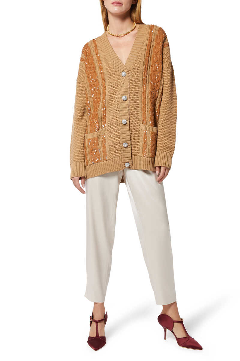 Sequin Embellished Caramel Cable Knit Cardigan image number 2