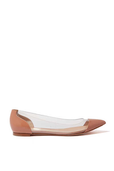Metallic Plexi Ballerina Pumps