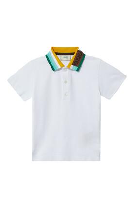 Stripe-Collar Polo Shirt