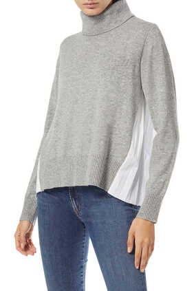 Pleated-Back Wool Knit Pullover