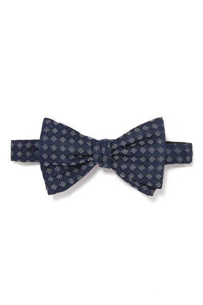 Diamond Print Silk Bow Tie