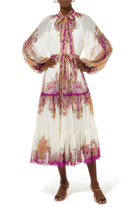 Teddy Tiered Midi Dress