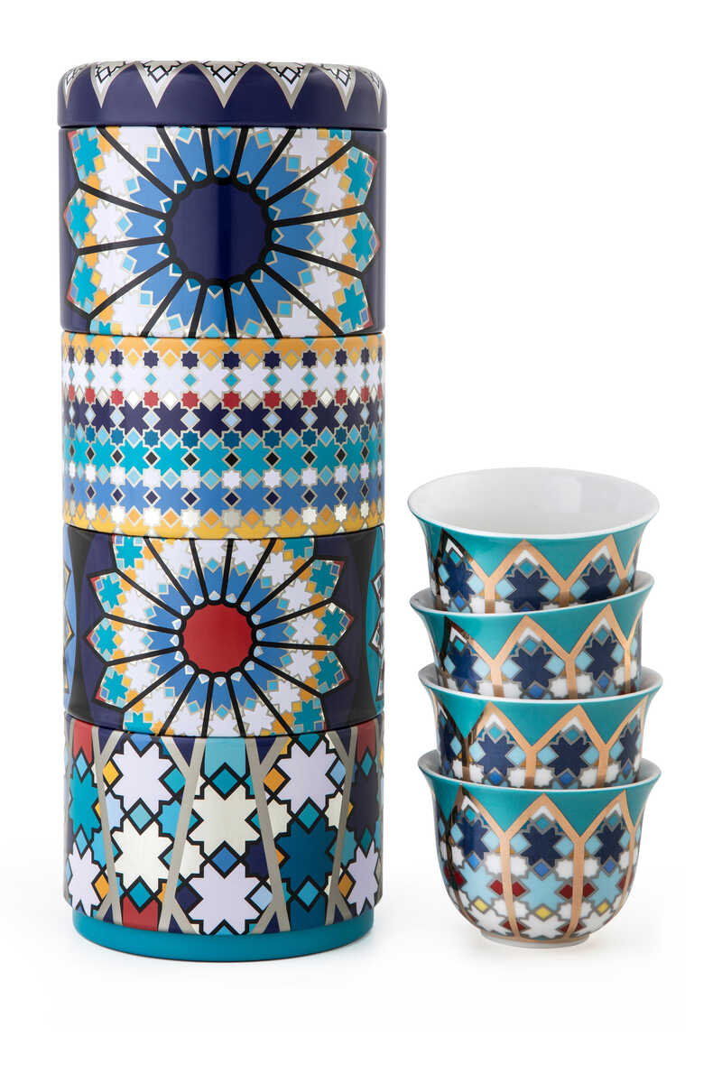 Musée Sursock Vitrail Tin Box With Cups, Set of Four image number 1