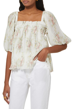 Pleated Georgette Babydoll Blouse