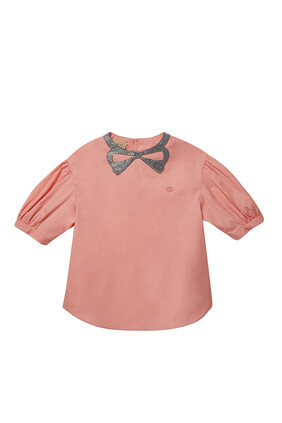 Double G Embellished Bow Top