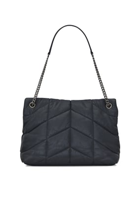 Loulou Puffer Medium Bag in Quilted Crinkled Matte Leather