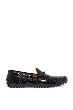 Driver Croc-Embossed Leather Moccasins