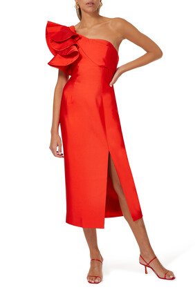 Lightening One-shoulder Midi Dress