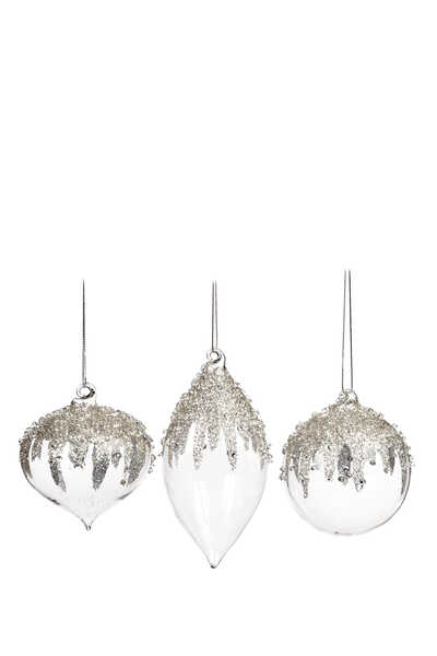 Jewel Top Ball Ornaments, Set of Three