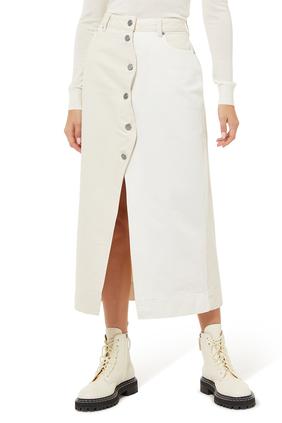 Button-Front Cotton Midi Skirt