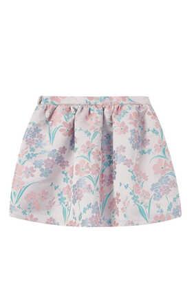 Floral Jacquard Gathered Skirt