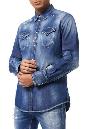 Stretch Denim Western Fit Shirt