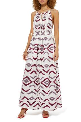 Embroidered Sleeveless Maxi Dress
