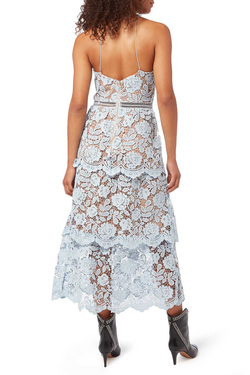 Flower Lace Midi-Tiered Dress image number 3