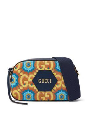 Gucci 100 Messenger Bag in Blue and Orange Supreme Canvas