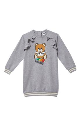 Teddy Bear Print Sweat Dress