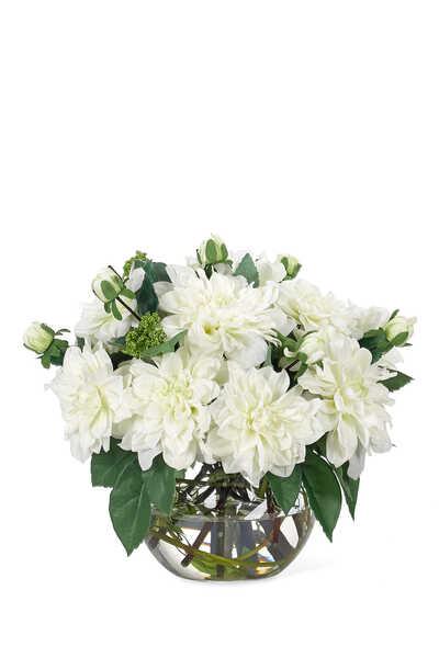 Dahlia Flowers with White Glass Bubble Vase