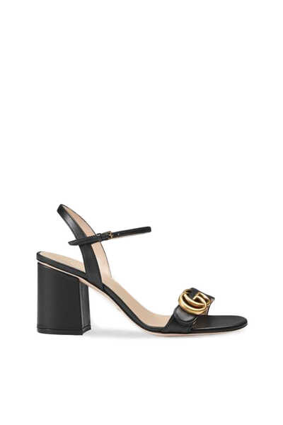 Leather Mid-Heel Sandals