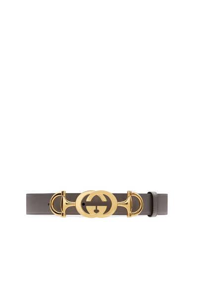 Horsebit-Buckle Leather Belt