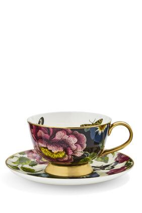 Creatures of Curiosity Floral Teacup and Saucer Set