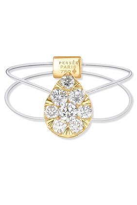 Floating Pear Diamond Nylon Ring