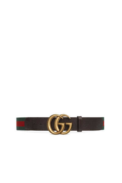 Leather and Canvas Double G Belt