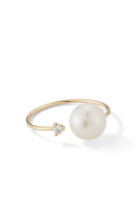 Open Diamond and White Pearl Ring