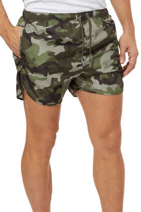 Star Monogram Camouflage Swim Shorts