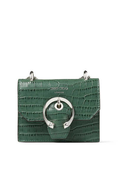 Mini Paris Croc-Embossed Leather Bag
