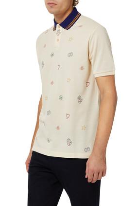 Symbols Embroidered Cotton Polo Shirt