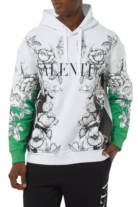 Dark Blooming Cotton Hooded Sweatshirt