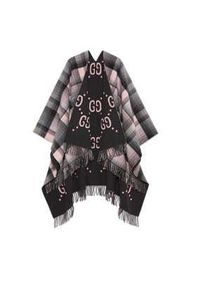 Reversible GG Wool Poncho