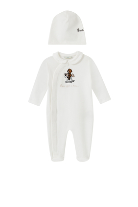 Bear & Pony Print Sleepsuit in Cotton, Set of 2