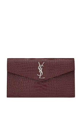 Uptown Crocodile-Embossed Leather Pouch