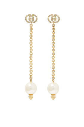 Interlocking G Earrings With Pearls