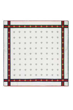 Bee Pattern Silk Pocket Square