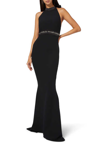 Shenice Embroidered Back Crepe Gown