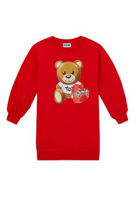 Bear and Heart Sweatshirt Dress